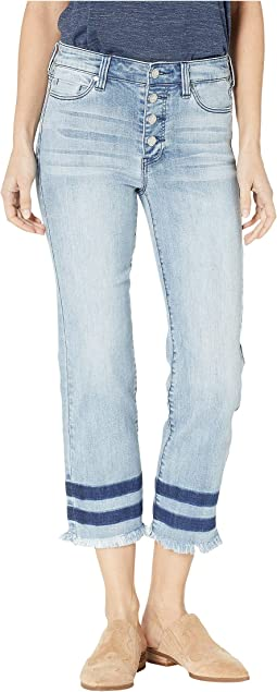 Sadie Crop Straight Jeans w/ Exposed Buttons in Eco-Friendly Denim in Stonehenge