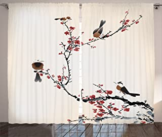 Ambesonne Japanese Curtain House Decor, Stylized Blooming...