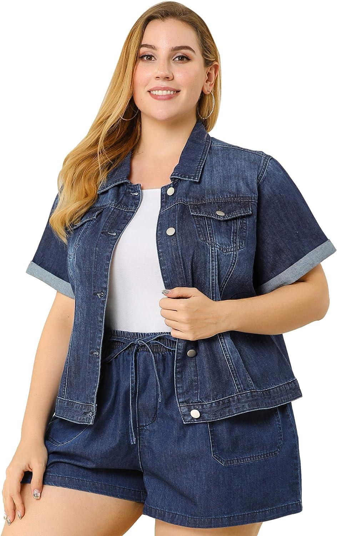 Agnes Orinda Women's Plus Size Denim Jacket Button Front Work Crop Jean Short Sleeve Jackets