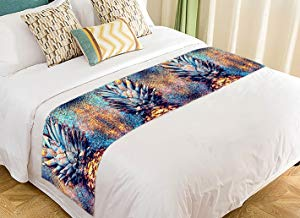 Custom Tropical Fruit Pineapples Bed Runner Bedding Scarf Size 20x95 inches