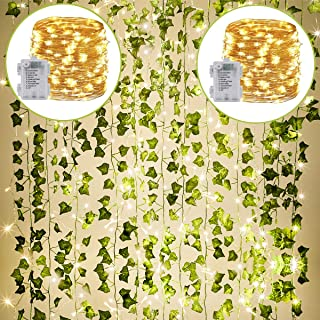 Best KASZOO 24Pack / Each 82 inch, Artificial Ivy Garland Fake Plants with 160 LED String Light, Green for Wedding Party Garden Outdoor Greenery Wall Decoration Reviews