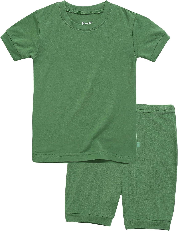 VAENAIT BABY Viscose 12M~12Y Toddler Kids Girls Boys Short Soft Shirring Cool Pjs Sleepwear Pajamas 2pcs Set