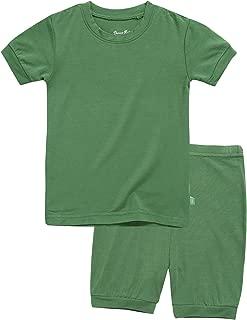 12M-8T Unisex Girls & Boys Short/Long Soft Rib Knit Shirring Ribbing Tencel Fabric Sleepwear Pajamas 2pcs Set