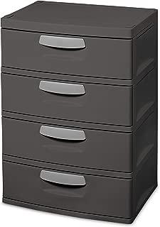 Sterilite 01743V01 4 Drawer Unit, Flat Gray with Black Handles & Drawer Interiors, 1-Pack