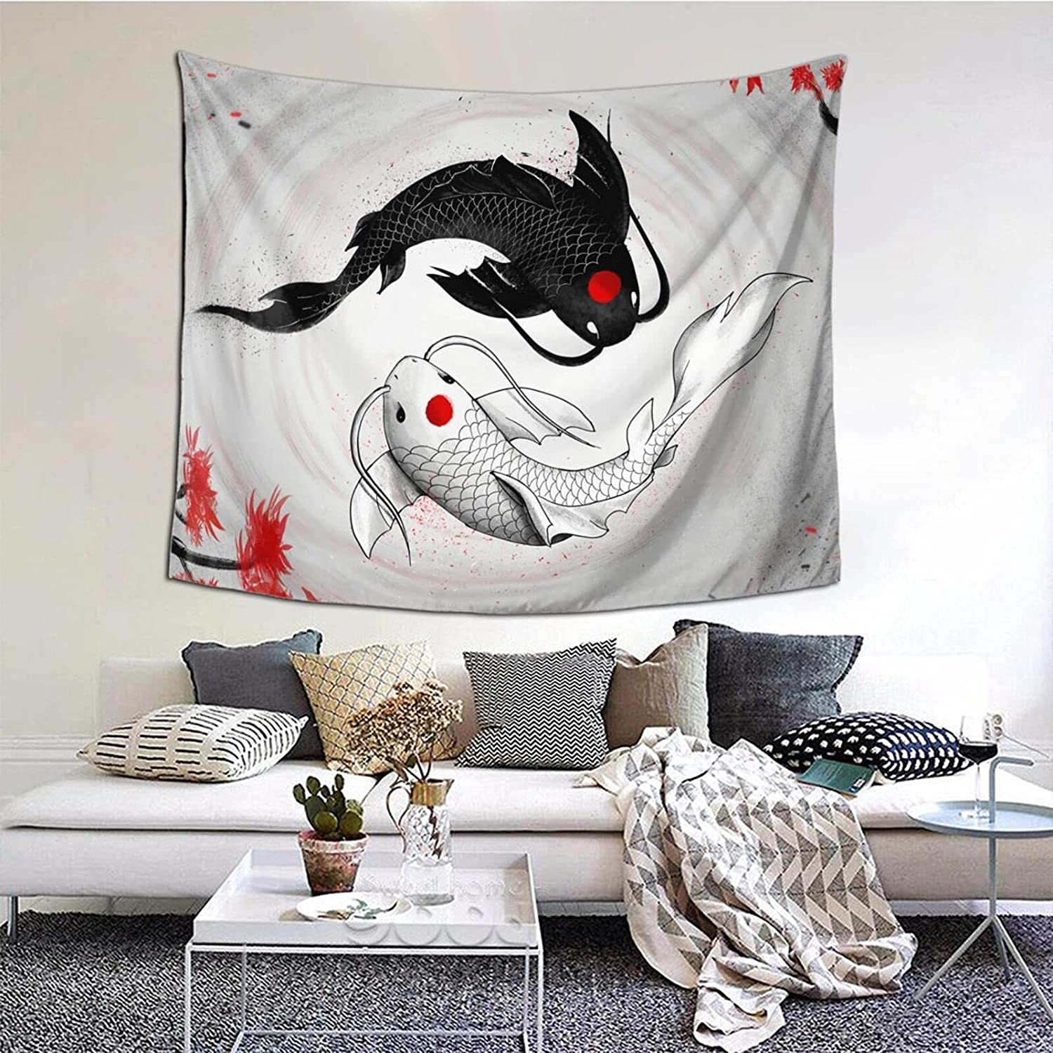 Emkoie Koi Fish Yin Yang Japanese Style Tapestry, Wall Hanging Tapestries for Bedroom Living Room Dorm Home Décor 50x61 Inches