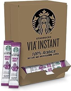 Starbucks VIA Instant Coffee Dark Roast Packets — French Roast — 1 box (50 packets)