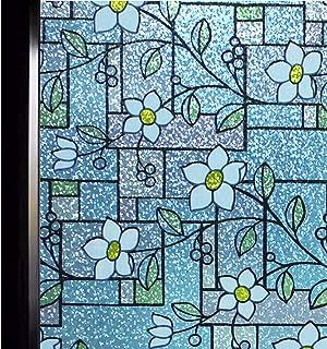 DUOFIRE 窓用フィルム 目隠しシート ガラスフィルム 窓めかくしシート遮光 遮熱 断熱シート 紫外線 UVカット ステンドグラス シール 水で貼る 貼り直し可能 おしゃれな花柄 インテリアシール (DP003A, 0.9M X 3M)