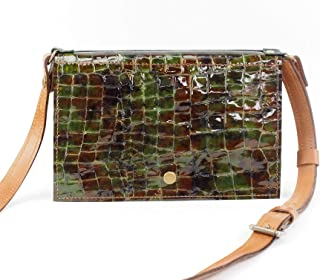 Festival Belt Bag Converts to Cross Body Purse in Green Croc Embossed Leather