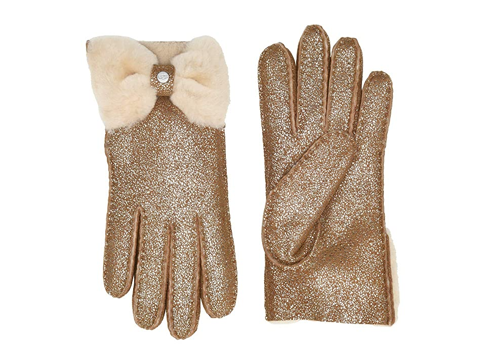 UGG Bow Shorty Water Resistant Sheepskin Gloves (Metallic Chestnut) Extreme Cold Weather Gloves