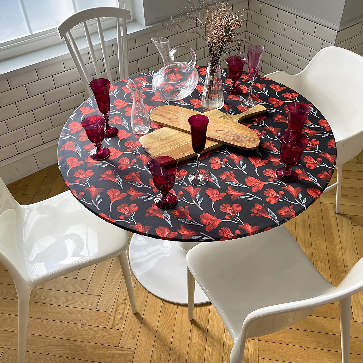 Buy HOLIZ Fitted Round Table Cloth Washable Tablecloth – Table ...