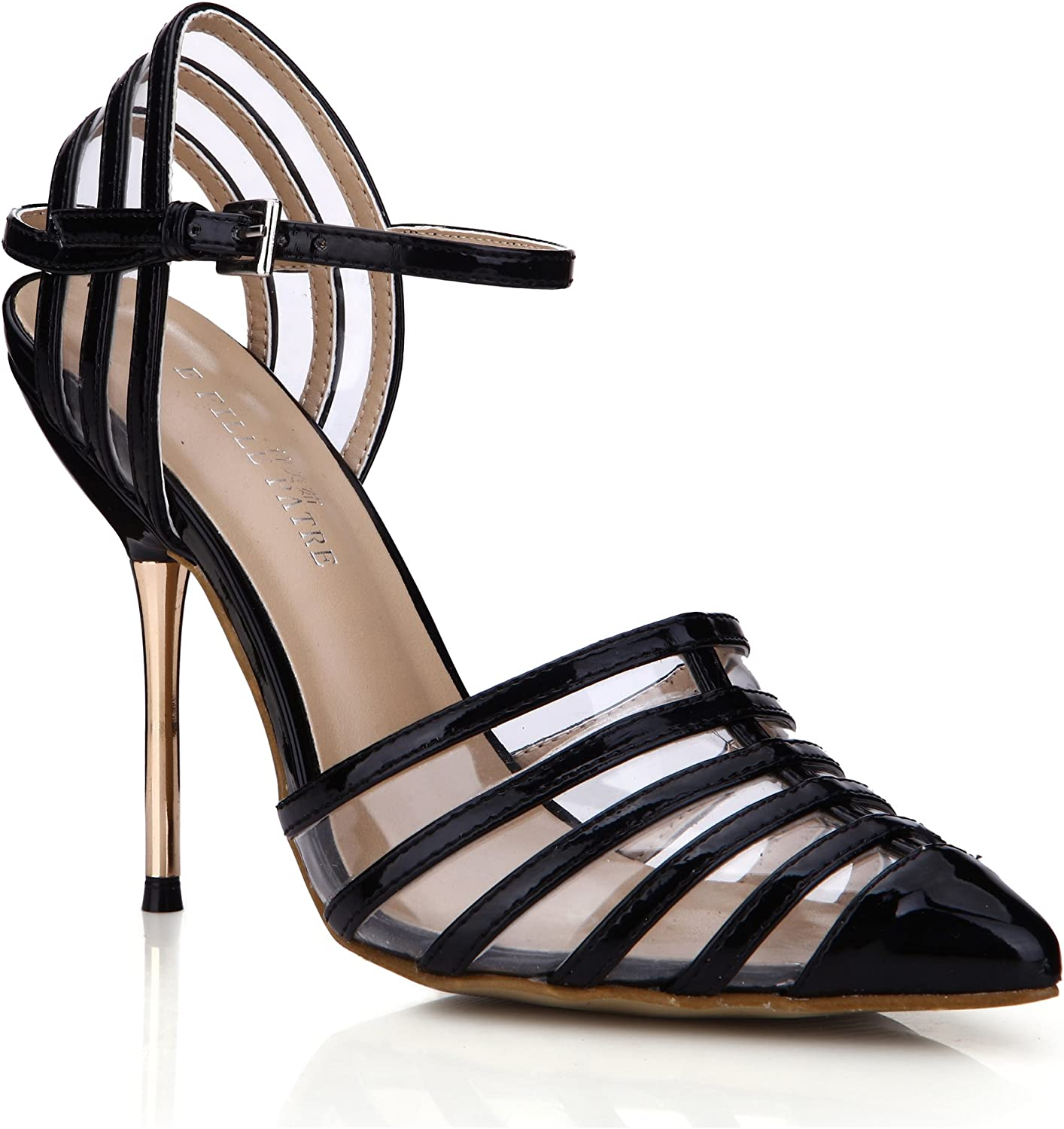 Dolphin Women's Black Hollow Point Toe Pumps High Heel Sandals Wrok School Prom Party Stiletto SM00048
