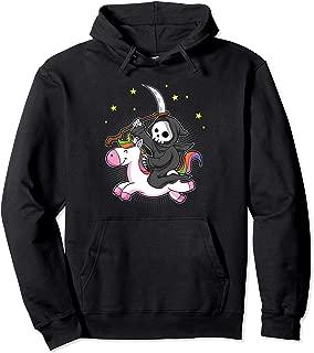 Death Metal Rock Music Rainbow Grim Reaper Riding Unicorn Pullover Hoodie