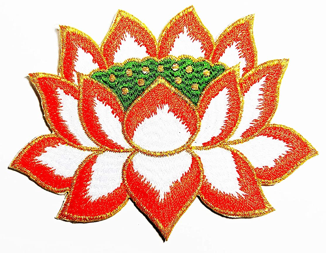 The Orange Lotus Ornament in The Bath House in The Fort 4X3 in MEGADEE Patch Cartoon Kids Symbol DIY Iron on Patch Iron-On Designer Patch Used for Gifts Crafts Jeans Clothing Fabric