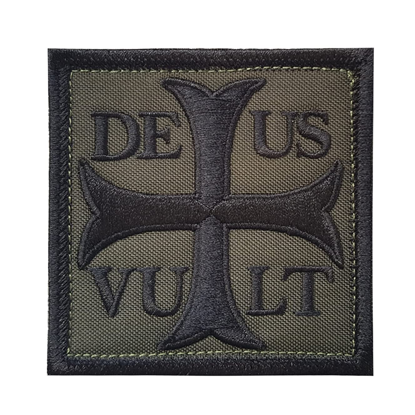 LEGEEON Olive Drab OD Deus Vult God Wills It Crusader Knight Holy Cross Templar Crusaders Morale Hook&Loop Patch