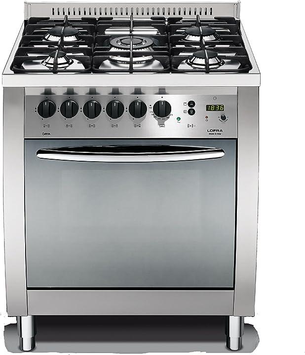 Cucina a gas, lofra c76mf/c  acciaio [classe di efficienza energetica a]