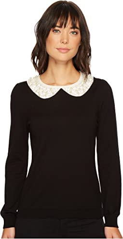 CeCe - Long Sleeve Embellished Intarsia Sweater