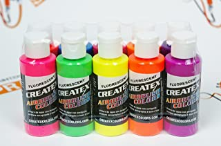 Createx Airbrush Colors Fluorescent Paint Set 10 pcs. by SprayGunner