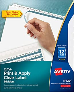 Avery 12-Tab Binder Dividers, Easy Print & Apply Clear Label Strip, Index Maker, White Tabs, 10 Packs (11429)