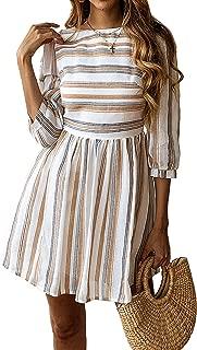 Womens a Line 3/4 Sleeves Striped Dress High Waist Scoop Neck Mini Dress