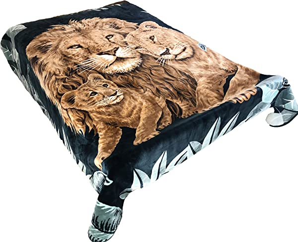 SOLARON Original Heavy Mink Plush Korean Durable Blanket Green Lions King