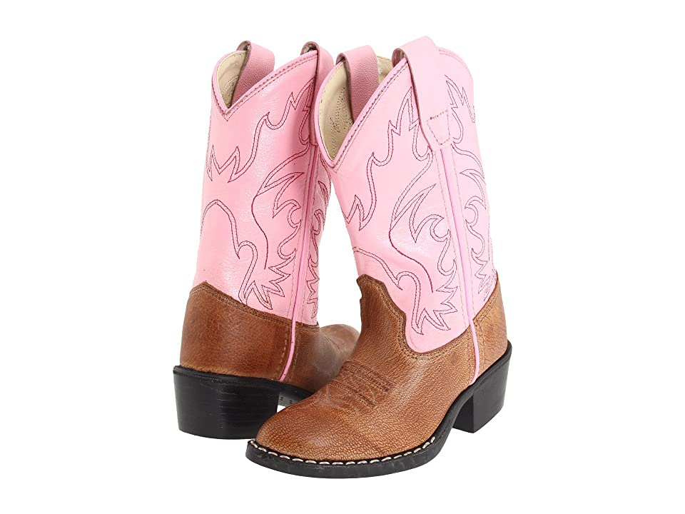 Old West Kids Boots J Toe Western Boot (Toddler/Little Kid) (Tan Canyon/Pink) Cowboy Boots