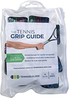 The Tennis Grip Guide by Tennisbuilder | Designed for Adults and Kids Tennis Racket | from Advanced to Beginner Tennis Players (Small, 12 Pack)