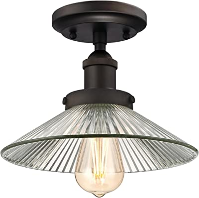 Westinghouse Lighting 6336000 Louis One Light Indoor Semi Flush Ceiling Fixture Finish And Metallic Interior Oil Rubbed Bronze Bronze Amazon Com