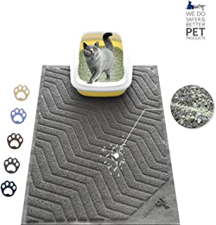 WePet Cat Litter Mat, Kitty Litter Trapping Mat, Large Size, Premium Durable Soft PVC Rug, No Phthalate, Urine Waterproof, Easy Clean, Washable, Scatter Control, Litter Box Carpet, 35 x 23 Inch