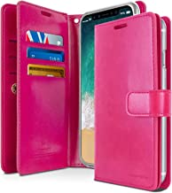 iPhone Xs Case, iPhone X Case [Extra Card & Cash Slots] GOOSPERY Mansoor Diary [Double Sided Wallet Case] Premium PU Leather Folio Style Flip Cover for Apple iPhone Xs/X (Hot Pink) IPX-Man-HPNK