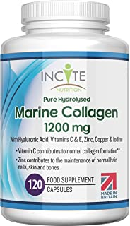 Marine Collagen 1200mg   120 High Strength Capsules Pure Superior Type 1 Hydrolysed Marine Collagen Supplement Enhanced wi...