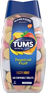 Tums Ultra strength assorted tropical fruit antacid chewable tablets for heartburn relief, Asst Tropical Fruit, 160 Count