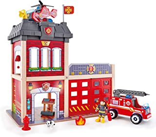 Hape Fire Station Playset| Wooden Dollhouse Kid's Toy, Stimulates Key Motor Skills and Promotes Team Play