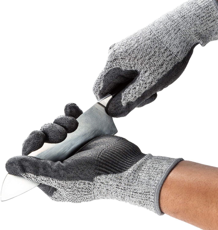 EN388 Level C Vgo 1 Pair Cut Resistant Gloves Size M, Grey, SK2131 ANSI Level 3 Certified Hand Protection Gloves