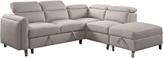 Lexicon Earl Fabric Sectional Sofa and Ottoman Set, Beige