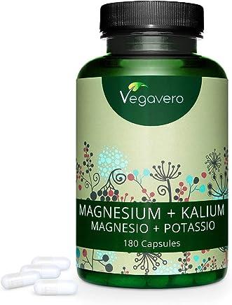MAGNESIO e POTASSIO Vegavero® | 500 mg + 225 mg per dose giornaliera | Forma CITRATO: Alto Assorbimento e Biodisponibilità | 180 capsule | Vegan