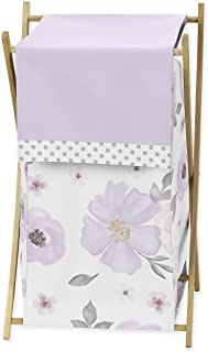 Sweet Jojo Designs Lavender Purple, Pink, Grey and White Baby Kid Clothes Laundry Hamper for Watercolor Floral Collection...