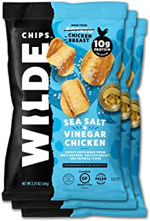 Sea Salt and Vinegar Chicken Chips by Wilde Chips, Made with Real Chicken, 2.25oz Bag (3 Count)