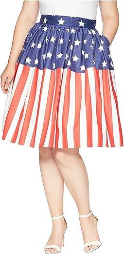 Plus Size High Waist Swing Skirt