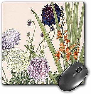 """3dRose Montbretia & Scabiosa in White, Lavender, Blue & Orange Mouse Pad, 8"""" x 8"""" (mp_172960_1)"""