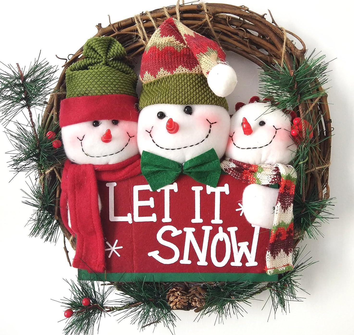 分類暫定通路Forhomelife クリスマスリース 玄関 ドア 壁 飾り クリスマスオーナメント プレゼント 手作り 36cm スノーマン