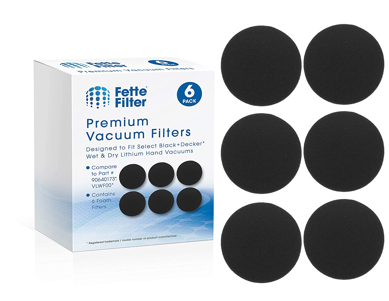 Fette Filter - Hand Vac Filter Compatible for Black + Decker VLWF00. Compatible with Dustbuster Hand Vacuum Wet/Dry Vacuum HLWVA325J21. Compare to # 90640173. Pack of 6
