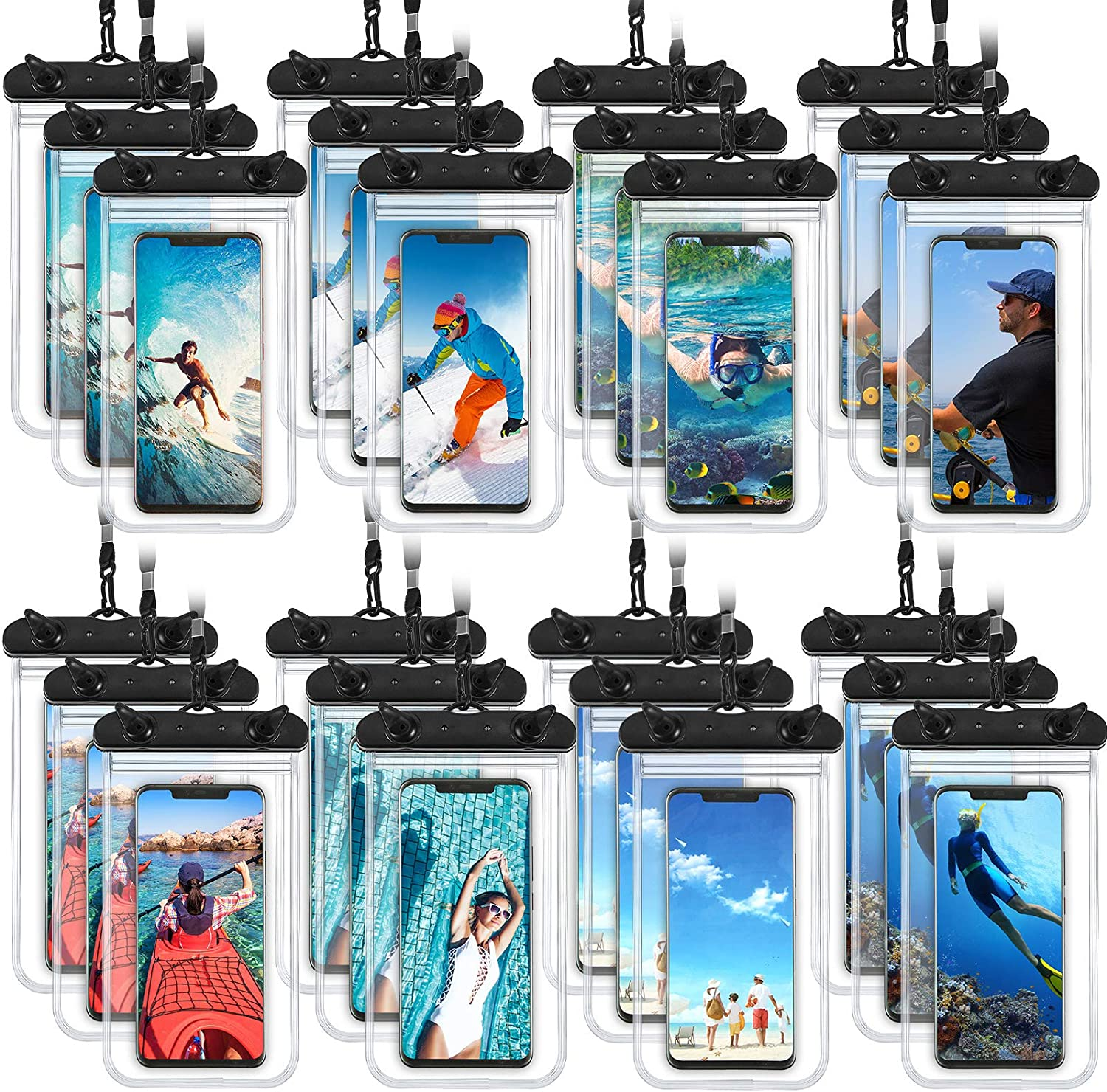 24 Pieces Universal Waterproof Phone Pouch Underwater Clear Phone Case Cellphone Dry Bag Pouch with Lanyard Outdoor Beach Swimming Snorkeling for Smartphone up to 6.9 Inch (Black)
