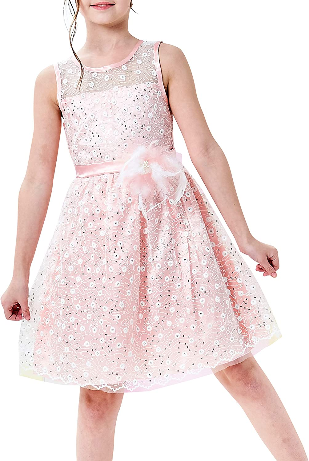 Sunny Fashion Flower Girl Dress Lace Sequin Flare Pink Wedding Party Size 5-12