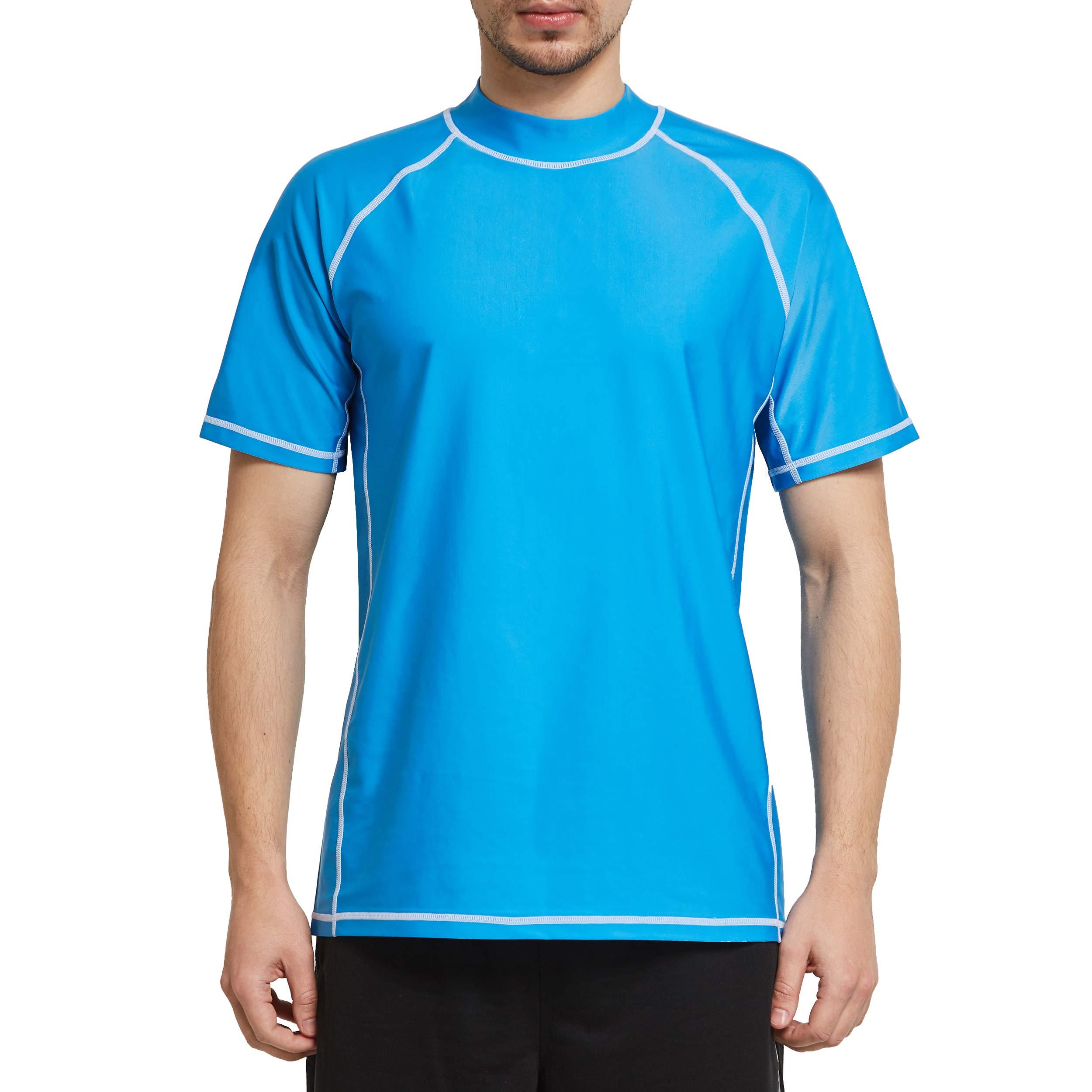 Ogeenier Mens Rash Vest Short Sleeve Rash Guard Top Swim Diving UV Protection UPF 50 Shirts