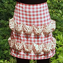 Hense Creative Egg Storage Apron with 12 Pockets to Hold Chicken Eggs Perfect for Farmer House-Hold Clever Housewife Must Have Apron HSW-030-005 red/White Checks with Pink Floral