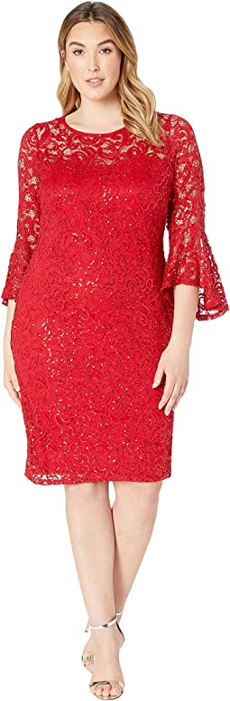Plus Size Stretch Sequin Lace Bell Sleeve Dress 4ba227c2a2