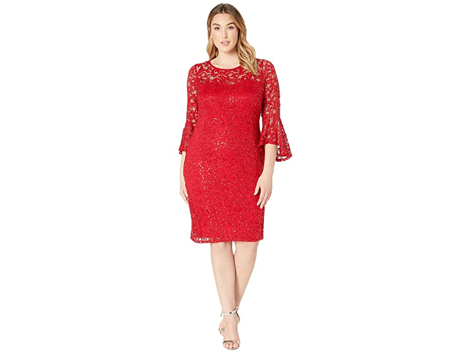 MARINA Plus Size Stretch Sequin Lace Bell Sleeve Dress (Red) Women