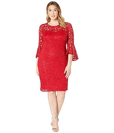 MARINA Plus Size Stretch Sequin Lace Bell Sleeve Dress, Red