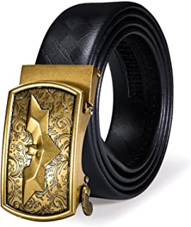 Dubulle Leather Mens Black Belt Italian Genuine Leather Ratchet Belt Automatic Buckle Luxury Sliding Belt