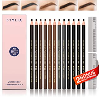 Waterproof Eyebrow Pencils Peel Off - Brow Pencil Set For Marking, Filling And Outlining, 12 Piece Tattoo Makeup And Microblading Supplies Kit-Permanent Eye Brow Liners In 5.